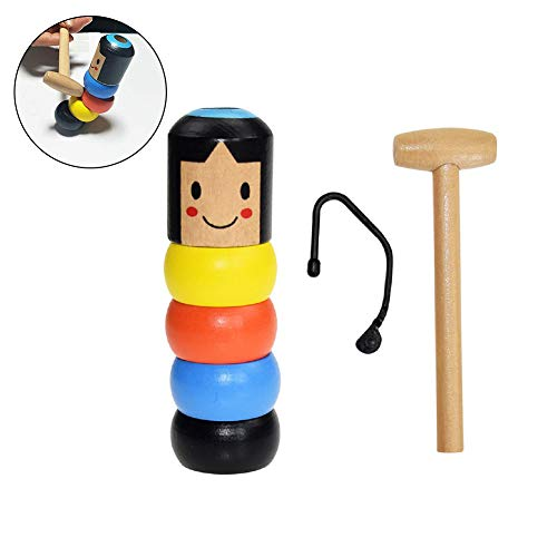 2019 Funny Wooden Magic Toy Gift, Unbreakable Wooden Man Magic Toy, Stubborn Wood Man Magic Tricks Props Toys, Halloween Magic Tricks Funny Toy Stage Magic Props, Wooden Magic Toy Gift for Kids