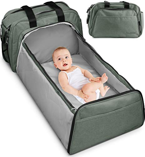 Scuddles 3-1 Portable Bassinet for Baby - Foldable Baby Bed - Travel Bassinet Functions As Diaper Bag and Changing Station - Easy Folding for Travel