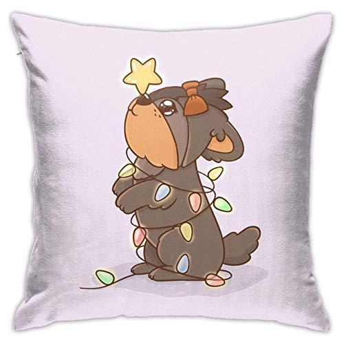 xiancheng Kawaii Yorkie - Funda de almohada para sofá de cama cuadrada con luces navideñas, funda de almohada para decoración del hogar, funda de cojín suave para sofá de doble cara