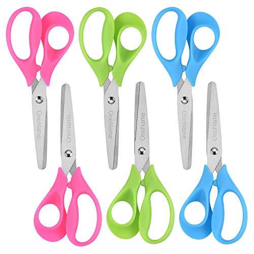 OneName Left-Handed Kids Scissors 6 Pack 5 Inch Left hand scissors for child School Student Scissors,Stainless Steel Sharp Blade Soft Comfort-Grip Handles Blunt Lefty Safety Scissors for Kids Scissor