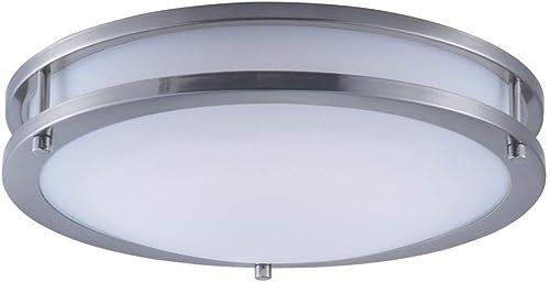 "lowest Maxim 55543WTSN Linear LED Commercial Grade Energy Efficient Opal Acrylic Flush Mount Ceiling Lighting, 1-Light 20 outlet online sale Watt, 3""H x wholesale 14""W, Satin Nickel online sale"