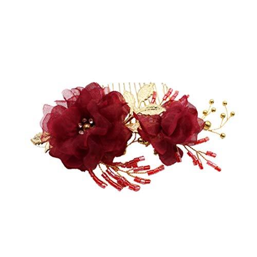 Minkissy - Accesorio para el Pelo de Novia, Elegante, de Metal, con Hojas de Gasa y Flores, Accesorio para el Pelo, Accesorio para Mujer, Mujer, niña o Novia, Color Rojo