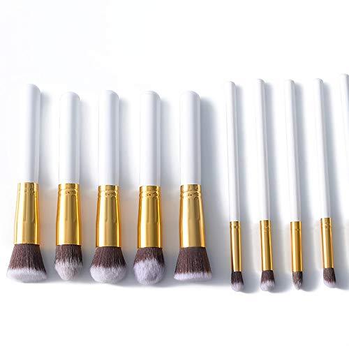 10 pcs synthétiques bambou blush base ombre à paupières eye-liner bronzant maquillage pinceaux ensembles Brosse à maquillage XXYHYQ (Color : Or, Size : Libre)