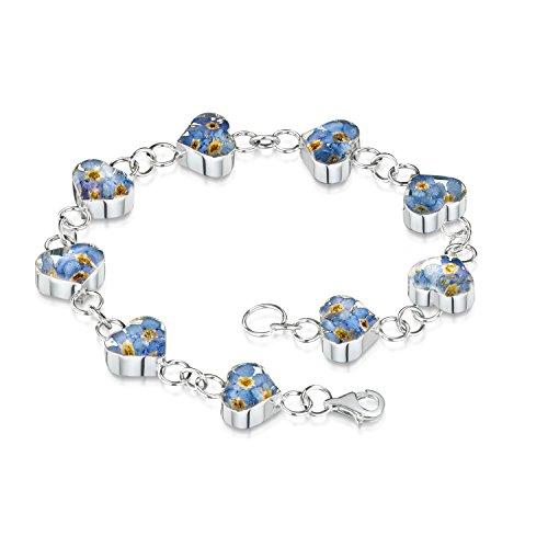 Shrieking Violet Damen-Armband Sterling-Silber 925 echte Vergissmeinnichtblüten eingelassen Geschenkbox