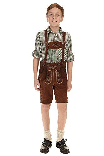 Isar-Trachten Kinder Lederhose kurz Trachtenlederhose Jungen mit Träger und Stickerei 55811 braun Gr.128