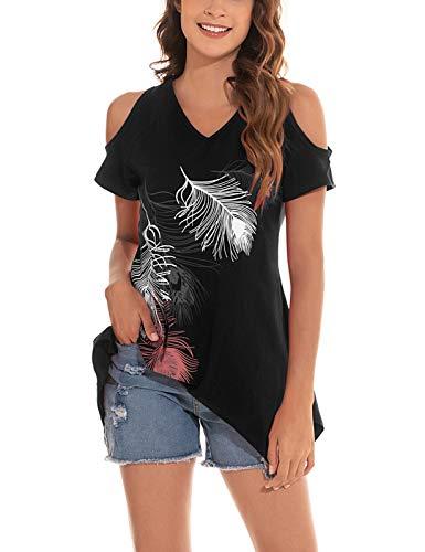 heekpek Camiseta Mujer Mangas Cortas Estampada de Pluma Liso con Hombro al Aire