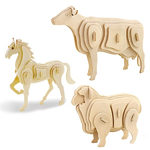 Georgie Porgy Rompecabezas de Madera 3D Puzzle de Modelo Colección de de Animales Juguete de Construcción Kit Kids Jigsaw Toy Edad 5+ (3 Piezas) (Caballo Vaca Oveja)