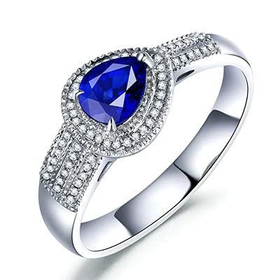 Bishilin Anillos de Oro Blanco 750 Alianza de Bodas de 18K, Lágrima Zafiro Diamante Anillo de Compromiso de Boda Aniversario Cumpleaños Azul Plateadotamaño: 25