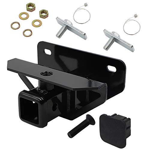 """hikotor Towing Combo: 2 inch Receiver Hitch / 2"""" inch Rear Bumper Trailer Hitch Receiver & Hitch Cover Kit Fits 2003-2018 Dodge Ram 1500 & 2003-2013 Ram 2500 3500, Tow Combo (Hitch Cover Included)"""