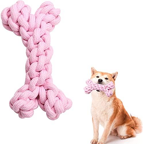 Bola de Cuerda de algodón para Perros, Juguete para Masticar Perros, Utilizado para Limpiar los Dientes de Perros, Juegos interactivos, aliviar el aburrimiento (Rosa)