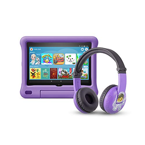 All-new Fire HD 8 Kids Edition tablet | 8' HD display, 32 GB, Purple Kid-Proof Case + Made for Amazon Bluetooth BuddyPhones, PlayTime in Purple – Ages (3-7)