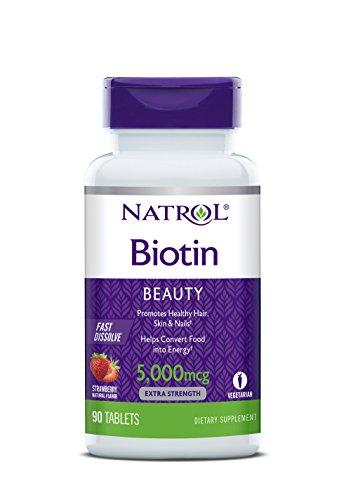 Biotina 5000 mcg Sublingual Morango (90 Tablets) - Natrol