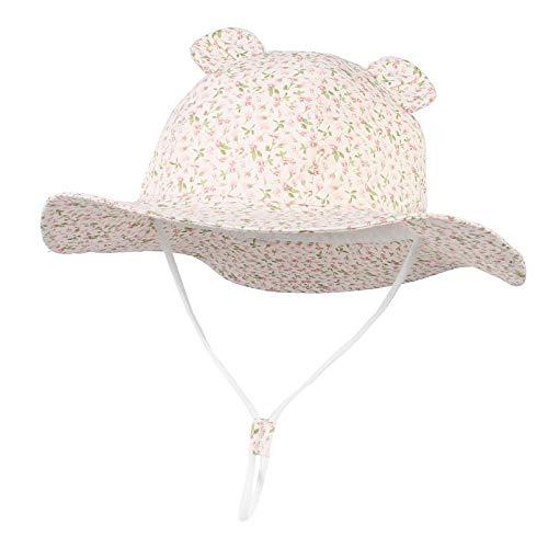 EOZY - Cappello da sole estivo per bambini, in cotone, anti-UV, UPF50+, pieghevole, motivo floreale, da principessa, da viaggio Rosa orecchie 1-2 Anni