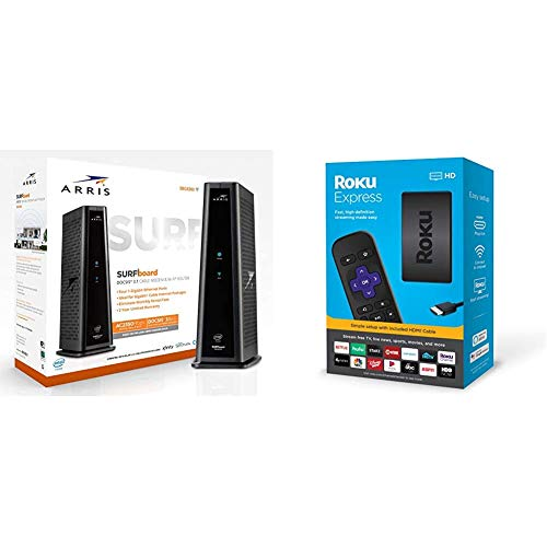 ARRIS Surfboard SBG8300 DOCSIS 3.1 Gigabit Cable Modem & AC2350 Dual Band Wi-Fi Router, Approved for Cox, Spectrum, Xfinity & Others (Black) & Roku Express HD Streaming Media Player 2019