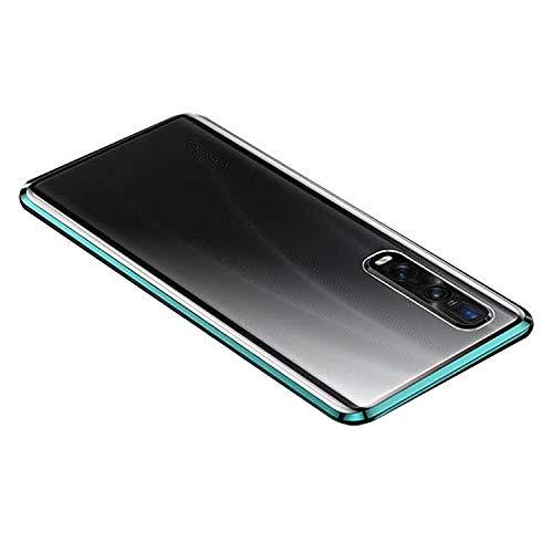 OPPO Find X2 Pro ケース/カバー アルミバンパー クリア 透明 前後強化ガラス かっこいい オッポ ファインド X2 プロ アルミサイドバンパー おしゃれ アンドロイド スマフォ スマホ スマートフォン シンプル ケース/カバー(グリーン)