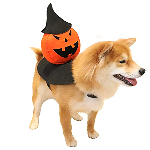 Dog Halloween Costumes – Holiday Pet Costume – Pumpkin Felt Coat with Velcro Strap for Large Size Dog