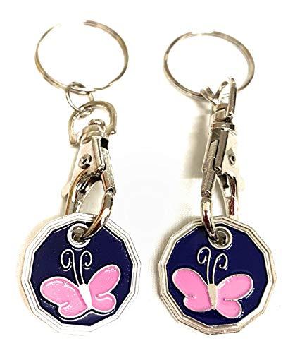UK Phoenix Einkaufswagenchip Schlüsselanhänger, 1 Pfund-Münze, Schließfach, Schlüsselanhänger, Fitnessstudio, Einkaufskorb, Asda Aldi Lidl Tesco Sainsbury (2 x Schmetterling)