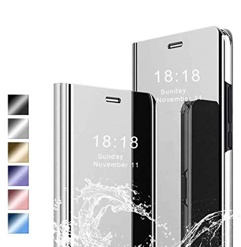 Jierich Funda para Xiaomi Redmi Note 8 2021 Carcasa, Ultra Slim Espejo Funda Flip Inteligente, Soporte Plegable, [Anti-Rasguños] Case Cover para Xiaomi Redmi Note 8 2021-Plata