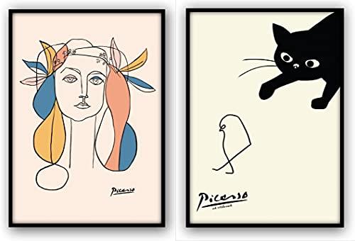 ピカソ 女の絵 ネコとヒヨコ 2枚セット (A3サイズ(フレーム無し))