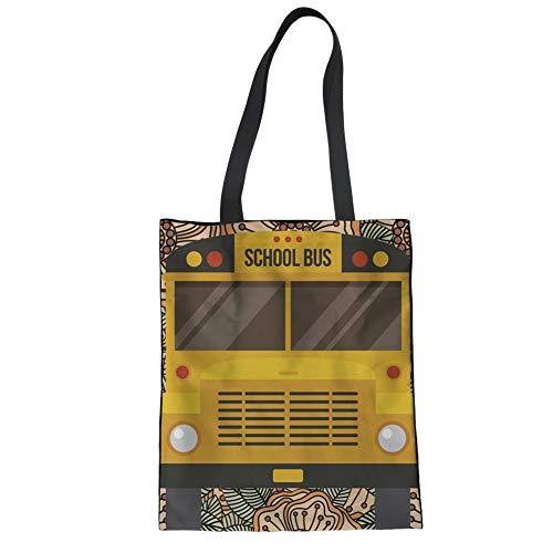 STARTERY Folding Reusable Tote Bag for Women Creative School Bus Designer Recycle Shoulder Cotton Bag