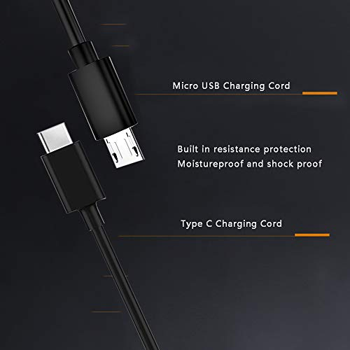Kindle Fire Fast Charger,10W Power Adapter Replacement for New Fire HD 8 8Plus 10,Kindle Fire HD HDX,Fire 6 7,Kids Edition and Kindle E-Reader,with Micro USB and Type C-6.6Ft 2Pack