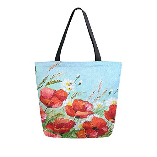 SunsetTrip - Bolsa de lona para mujer, diseño de margaritas de amapola con flores, bolsa de hombro, reutilizable, grande, bolsa de compras con bolsillo interior