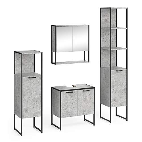 Vicco Loft Badmöbel Set Fyrk Spiegelschrank Hochschrank Midischrank Unterschrank (Beton, Set 4)