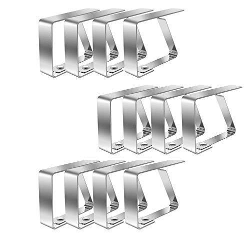 HSCC666 Tischdeckenklammern, Flexible Edelstahl-Tischdeckenklemmen, Tischdeckenhalter, ideal für Picknicks, Festzelte und Hochzeiten (12 Packungen)