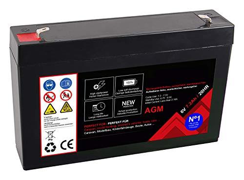 Premium Akku für AGM Blei 6 Volt 7,2Ah 20 Stunden Batterie Bleiakku Bleigel Wartungsfrei (6V 7,2Ah 20 HR)
