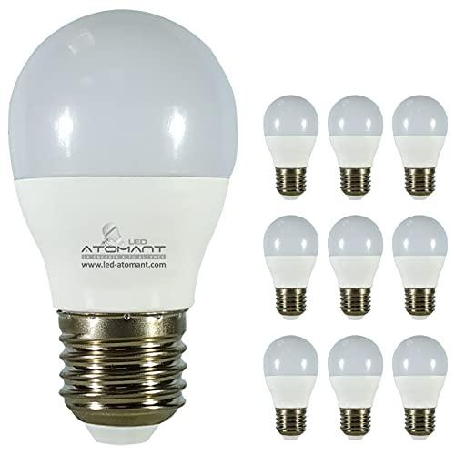 Pack 10x Bombilla LED G45 9w. Color Blanco Calido (3000K). 800 lumenes. Rosca E27 (Rosca Gorda). A++