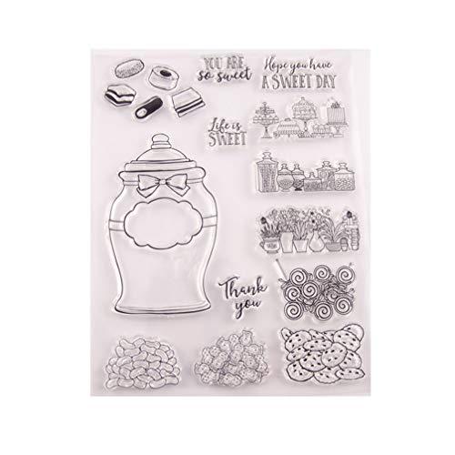 Healifty Silikon-Stempel für Tortenmuster und Siegelblöcke aus transparentem Gummi für DIY Basteln, Scrapbooking, Fotoalbum, Kartenherstellung, Dekoration, TPR, Kuchen, 15.5x21.5cm