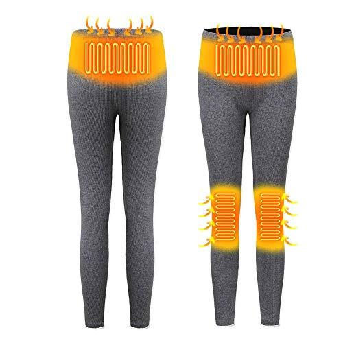 Leiyini Intelligente USB-Heizhose, beheizte schlanke Baselayer-Hose, wiederaufladbare isolierte Damenhose Herren beheizte Slim Fit-beheizte Unterhose