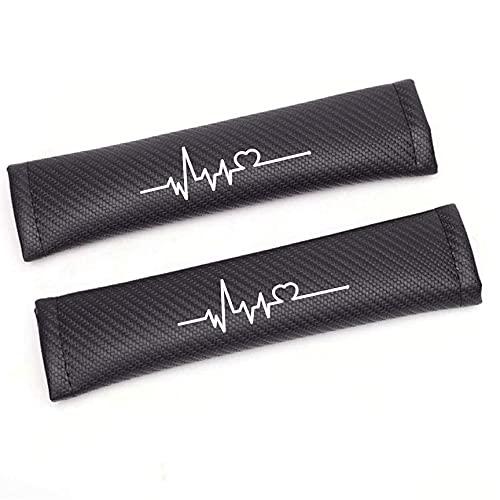 BENHAI 2pcs Almohadillas para CinturóN De Seguridad, Compatible para Mitsubishi Eclipse Cross Fibra De Carbono ProteccióN Hombros Confort Acolchado Protector Clip