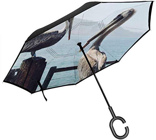 Easide Pelican Chat Blauer Regenschirm Wind- und wasserdichter Regenschirm in C-Form