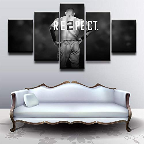 YOPLLL Cuadros De Lienzo Decoración para El Hogar 5 Piezas Paintings Wall Art Prints Modern Poster Modular Bed Background Derek Jeter Baseball Sports(Enmarcado)