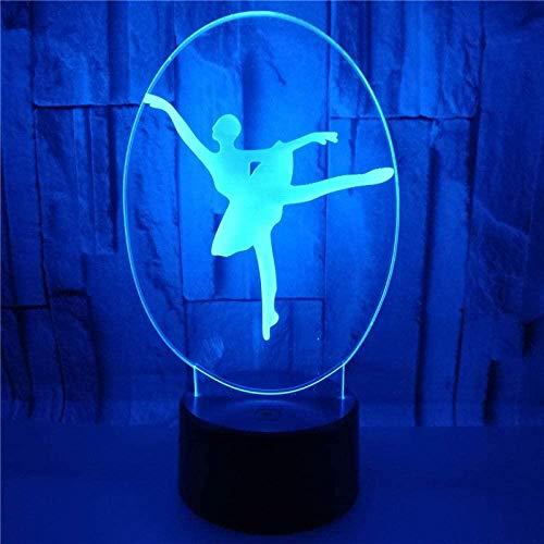 DXJA HCDZF Ballet Bailarín lámpara noche acrílico lamparas USB LED ilusión lámpara visual iluminación hogar decoración cambio color lava lamparas 3D noche luz 7 colores
