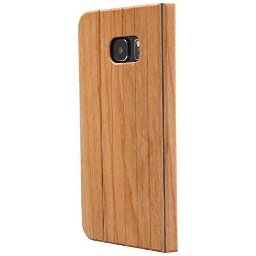Ultratec Schutzhülle für Samsung Galaxy S6 Edge, klappbares Flip Case, Naturholz-Hülle, Kirschholz