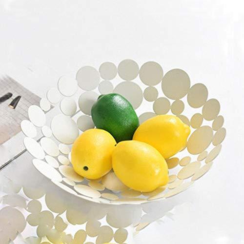 PetKids Cestino per Frutta Fruttiera Decorazione da Tavolo Design in Metallo Cestino Frutta Portafrutta Scarico Vuoto Cesto di Frutta Organizer Frutta E Verdura Gold, 29,5cm*9cm