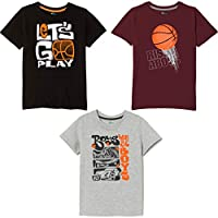 Real Basics Boys' Tshirt Pack of 3 Cotton, Regular Fit, Multicolour (Set8)