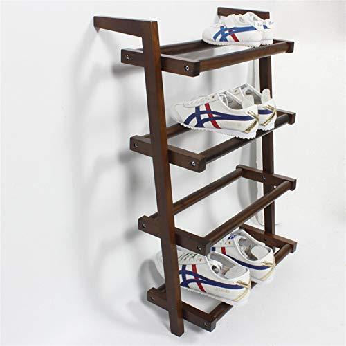 YFH Rack de Zapatos, Organizador de Almacenamiento de Zapatos de 4 Niveles, estantería de Zapatos de Madera Simple para Cuenta de casa y baño (Color : Walnut Color, Size : 69cm)