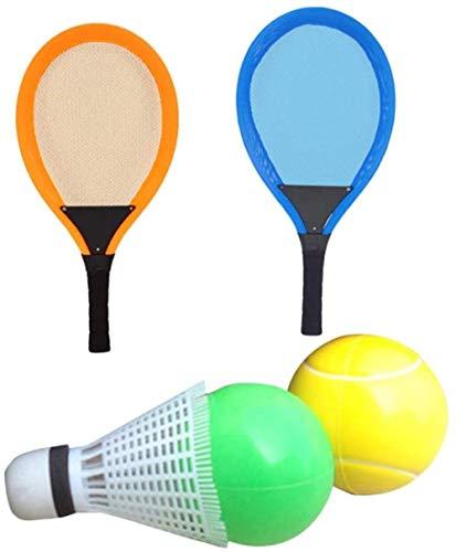 HLD 4psc Kinder Racket Badminton Tennisschläger-Set mit Kugel for Kinder Luminous Schläger, Extra Large Vogel Leuchtet Flut Weiche Badminton mit Federball Bälle Jungen und Mädchen Strand Außen