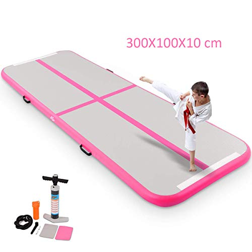 COSTWAY Air Track Aufblasbar Gymnastikmatte Tumbling Matte Air Bodenschutzmatte für Gym Training Yogamatte Trainingsmatten Weichbodenmatte Turnmatte Fitnessmatte Aufblasbar Tragbar 300X100X10CM (Rosa)