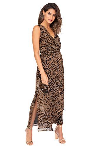 likemary Vestido largo cruzado – Maxi vestido de manga larga sin mangas con abertura lateral para...