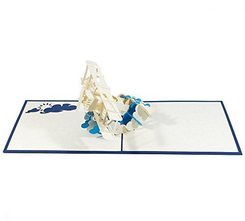 Flugzeug - 3D Karte/Pop-Up Karte/Klappkarte als Geburtstagskarte, Grußkarte, Geldgeschenk, Glückwunschkarte für Piloten, Gutschein-Karte für einen Urlaub