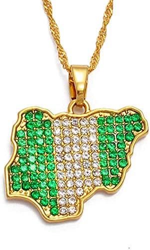 ZPPYMXGZ Co.,ltd Collar de la Bandera del Color de la Moda Nigeria Jamaica con Diamantes de imitación Mapas de África Collares Pendientes Joyería étnica