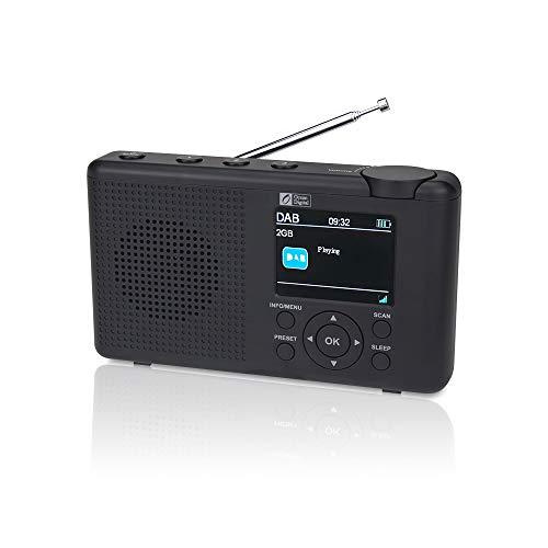 """Ocean Digital DK23C Radio digitale portatile Dab/Dab + / FM con display a colori da 2,4"""", batteria ricaricabile, altoparlante, timer di spegnimento, jack per auricolari e antenna (NERO)"""