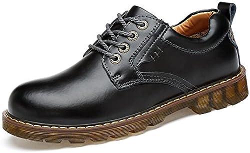 YIJIAN-schuhe Herren Oxford Schuhe Stilvolle Bequeme Oxfords Flache Ferse Einfarbig Schnürschuhe PU Leder Formelle Schuhe Kleid Oxford Schuhe (Farbe   Schwarz Größe   44 EU)