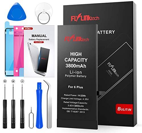 FLYLINKTECH Batteria per iPhone 6 Plus Alta Capacità 3800mAh Batteria Interna di Ricambio in Li-ion, Strumenti di Riparazione Completi con Kit Sostituzione, Cacciavite Strumenti e Adesivo