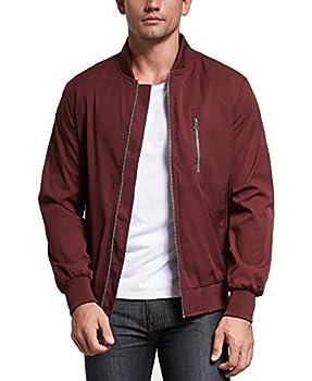 Uownsclo Men s Jacket Lightweight Casual Flight Bomber Jacket Spring Fall Coat Outwear XX-Large,Red
