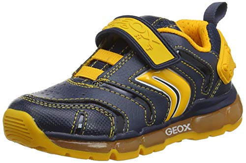 Geox J Android Boy B, Zapatillas para Niños, Azul (Navy/DK Yellow C4229), 35 EU